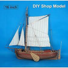 16 inch classic wooden ship model diy fishing boat assembly model kits