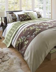 jinelle olive lime green chocolate brown mint grey oriental fl embroidery luxury single bed duvet quilt cover set co uk kitchen home