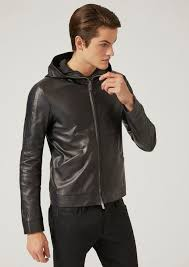 emporio armani men s hooded jacket in leather navy blue h2awn3a2 larger image