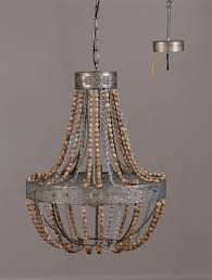wood and iron beaded chandelier
