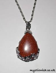 goldstone teardrop pendant flower surround uplifting protection