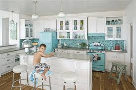 Retro Kitchen Pastel Blue Retro Kitchen Ideas Refrigerator Range And Hood White