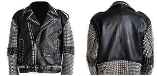 arrow handmade men studded leather biker motorcycle rocker jacket rock punk design arrow ping