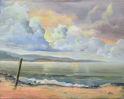 Don Hannan - Mid Century Clouds on the Coast Landscape For Sale at ...