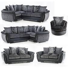 lush corner sofa or 3 2 swivel chair black grey