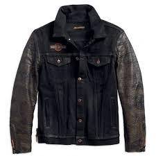 men s 1903 leather sleeve denim jacket