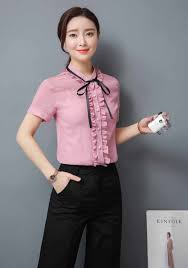 Female Office Shirt Designs Pink Ruffle Style Short Sleeve Shirt With Neck Tie In 2020