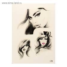 татуировка переводная девушки черно белая 011 3599284 купить