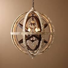 retro rustic weathered wooden globe metal orb crystal 5