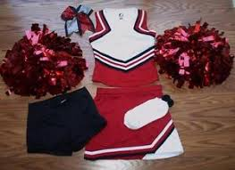 Image is loading Cheerleader-OUTFIT-COSTUME-HALLOWEEN-METALLIC-POM-POMS-6- Cheerleader OUTFIT COSTUME HALLOWEEN METALLIC POM POMS 6-7 SMALL