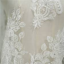 Patterned Inspiration Ivory 48D Abstract Beaded Patterned Embroidered Lace Lunss Couture