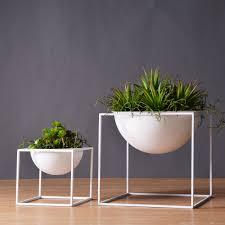 white modern tabletop vase metal square flower pot tray