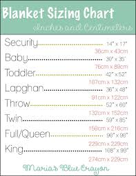 Blanket Measurement Chart Blanket Sizing In Inches And Centimeters Chart To Help