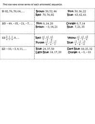 Arithmetic Sequence Worksheet Answers Arithmetic Sequences Coloring Activity