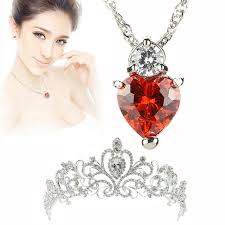 details about valentine s day ruby red heart crystal pendant necklace crystal tiara crown