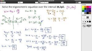 math ysis trigonometric equation solve over an interval 0 2pi sine