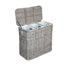 3-Compartment Kubu Wicker Laundry Hamper in Serene Grey with lid open | The  Basket ...