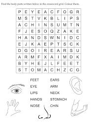 Find the body parts written below in the crossword grid   Download ...