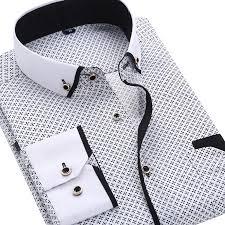 2019 <b>Men</b> Fashion Casual Long Sleeved Printed <b>shirt</b> Slim Fit <b>Male</b> ...