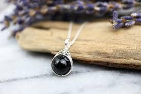 black tourmaline necklace 925 wire wrap pendant grounding negative energy shield black stone pendant the ivy bee