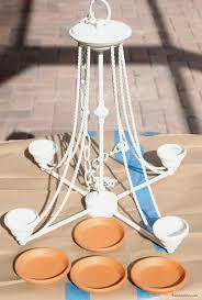 old chandelier makeover into hanging flower pot