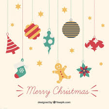 hanging christmas ornaments vector. Colorful Hanging Christmas Ornaments Free Vector On Freepik
