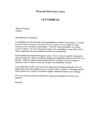 Personal Reference Sample Sample Character Reference Letter For Child Custody Writing