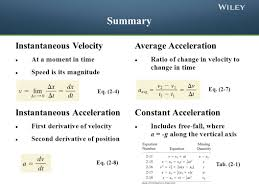 instantaneous velocity at a moment in time sd is its magnitude average acceleration ratio of change