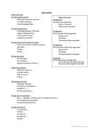 useful phrases for essay writing worksheet esl printable  useful phrases for essay writing