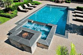inground pools with hot tubs. Modren Inground Inground Swimming Pool With Fire Pit Intended Pools With Hot Tubs N