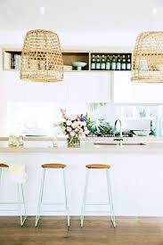 Superb Gorgeous Bright White Kitchen {love Those Barstools!} I Found The Laundry  Baskets. Looks Like Dollar Tree Laundry Baskets For Light Fixtures. Home Design Ideas