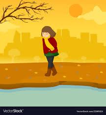 sad lonely autumn season scene graphic design vector image