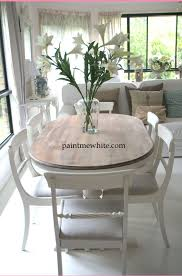 dining table makeover whitewash table top and white chalk paint the base and chairs