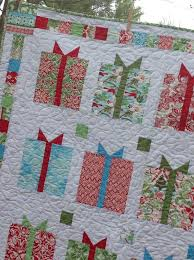 113 best KATE SPAIN images on Pinterest | Stitching, Block quilt ... & Flurry Christmas Presents Lap Quilt -- red, blue, green, white, aqua Adamdwight.com