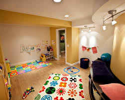 charming playroom decorating ideas with colorful mat and best kids play room pictures featuring attractive track awesome family room lighting