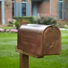 Copper Locking Post Mount Mailbox With Eagle Outdoor Lockable Post