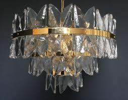 Kalmar Franken Gilt Brass Ice Glass Chandelier Mid Century