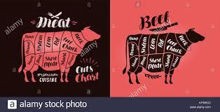 Kfm Charts Meat Cut Charts Food Butcher Shop Beef Concept Vector