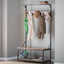 Metal Entryway Storage Bench With Coat Rack Artistic Coat Rack Plans Tradingbasis Also Home Design Entryway 54