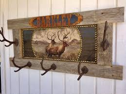 Personalized Coat Racks Rustic Barn Wood Personalized Lodge or Cabin Elk Coat Rack 69