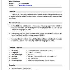 Engineering Resume Samples For Freshers New Resume Fresher