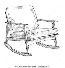 rocking chair sketch. Wonderful Sketch Rocking Chair Isolated On White Background Sketch A Comfortable Chair  Vector Illustration To Chair Sketch