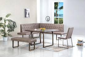 Espresso Kitchen Table Nook Piece Corner Dining Set White Cushions