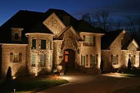 outdoor lighting stone home