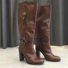 coach brown tall leather boots