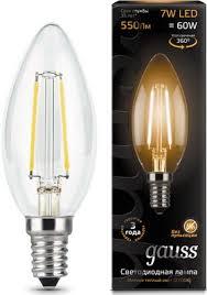 <b>Лампа GAUSS Filament Свеча</b> E 14 7W 2700 K 103801107 купить ...