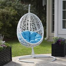 island bay resin wicker hanging egg chair with cushion and stand hayneedle