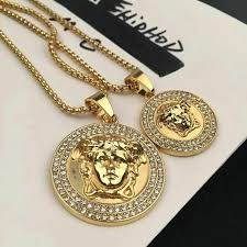 details about new top quality versace medusa head pendant gold plated luxury uni necklace