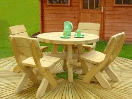 garden unfinished wooden furniture with rounded table and four inside childrens wooden garden furniture