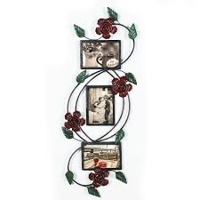 adeco black decorative 3 opening collage bronze metal wall haning rose scroll picture frame